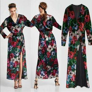 Zara Floral Print velvet kimono robe jacket wrap